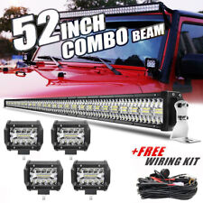 "52"" 3000W LED Work Light Bar +4X 4"" Light Pods For Jeep Wrangler JK  YJ CJ LJ TJ"