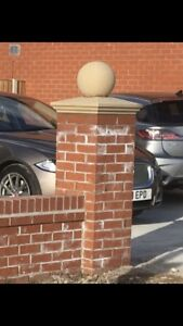 """cast stone pier caps, With 12"""" Ball Finials, driveways, walls,"""