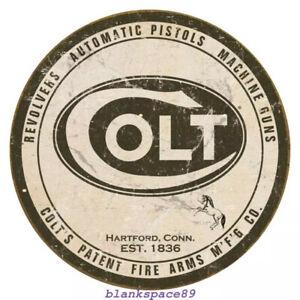 Metal Tin Sign round colt pistols firearms  Bar Pub Retro Poster 30cm diameter