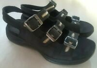 Clarks Springers Sandals Womens Size 6 Black Nubuck Leather Slingback Shoes