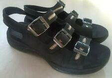 Clarks Springers Sandals Womens Size 6M Black Nubuck Leather Slingback Shoes