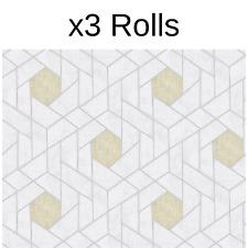 x3 Rolls Scott Living Geometric Wallpaper Fine Decor Grey Yellow Silver