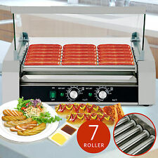 Roller Commercial 18 Hotdog Hot Dog 7 Roller Grill Cooker Machine W/Cover New