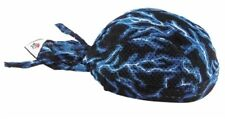 Blue Lightning Electric Vented Sweatband Durag Head Wrap Biker Cap Bandanna Mesh