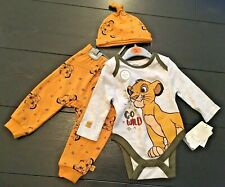 DISNEY LION KING SIMBA Baby Long Sleeve Vest, Bottoms & Hat Set Primark 0-18mth