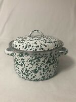 "Speckled Enamel Green & White Covered Pan Pot Casserole Small 5 1/2"" x 4 1/2"""