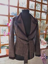 LOVELY GERARD DAREL BROWN MIX VIRGIN WOOL BLEND LINED JACKET SIZE S