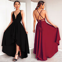 Dames VNeck Strap Backless Maxi Robe Soirée Robe Longue Robe cocktail Sundress