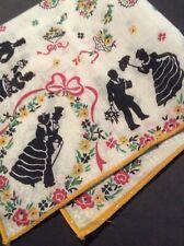 🎩 Silhouette Civil W Vtg Hanky Wedding Floral Victorian Figures Romance Pioneer