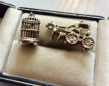 Two Lovely Vintage Solid Silver Charms - Horse & Carriage & Bird In Bird Cage
