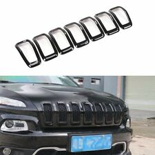 Front Grille Insert Grill Trim Frame Accessories-Black for 2014-17 Jeep Cherokee