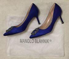 Manolo Blahnik Hangisi Blue Satin Pumps 36/6