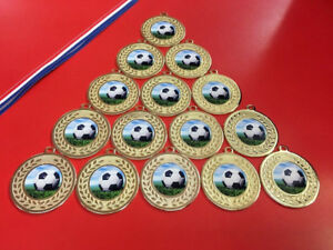 15 X Metal Football Gold or Silver Medals With FREE Ribbons