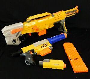 Nerf Blaster N-Force Longshot CS-6 Recon CS-6 Hasbro Yellow 18 Dart Clip