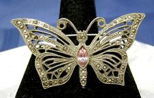 Pin Pink Rhinestone Brooch Vintage Silver Tone Marcasite Butterfly