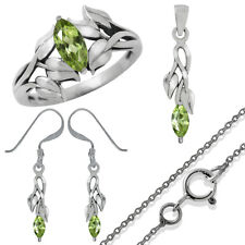 Natural Peridot 925 Sterling Silver LEAF Ring, Earrings&Pendant/Necklace Set