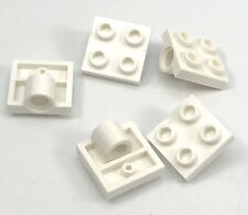 Lego Lot of 5 New White Plates Modified 2 x 2 with Pin Hole Pieces