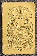 MADAMIGELLA DE LA FAILLE - Dramma in 5 Atti, Trad C. Romagnoli 1846