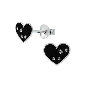 Girls Black Heart Tiny Paw Print Sterling Silver Stud Earrings 9mm