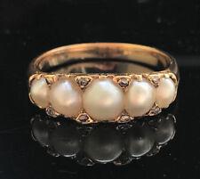 Exquisito Victoriano 18ct, 750 Oro Perla & Rose-Corte Diamante Anillo Aro Tallada