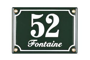 Porcelain address plaque 4.7x6.7″ customisable handmade enamel house number sign