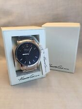 Kenneth Cole Watch Black Checkerboard Face Stainless Link Bracelet KC3835 NEW!