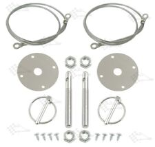 Chrome Bonnet Pin Kit / Hood & Deck Pins - With Torsion Clips and Lanyards