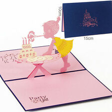 Girl's Birthday 3D Pop Up Greeting Card Christmas Valentine Invitation New