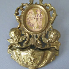 """Antique Ornate 8"""" French BRONZE Holy Water FONT Scrolls Winged CHERUBS Roses"""