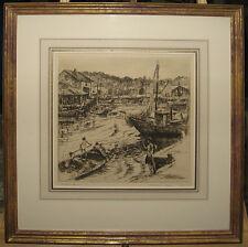 "Rare Vladimir Didur 1939 Etching ""Water's Fine"" Boys Swimming Listed New York"