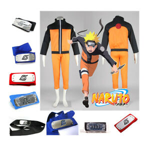Naruto Shippuden Uzumaki Adult Costume Cosplay Set : Headband + Jacket + Pant
