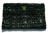 PRADA Black Basketweave Patent Leather Gold Tone HW Top Zip Large Woven Clutch
