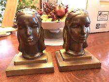 Bronze Sculpture ANTIQUE FRANKART INC. Ladies Bust Head Bookends