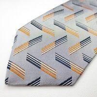 Brooks Brothers 100% Silk Mens Necktie Silver Orange Foulard Pattern Tie L219