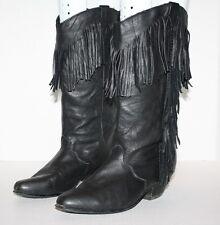 Dingo Black Women's Ladies Leather Western Cowboy Cowgirl Boot w/Fringe Sz 5 1/2
