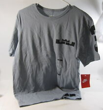 NEW 644566-088 NIKE LEBRON MIAMI PRINT TEE  T SHIRT GREY BLACK SIZE  M ***