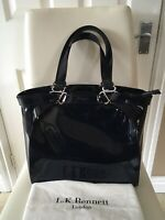 L.K Bennett Navy Patent Leather  Large Tote Handbag Zip Top Cost £245 Dustbag