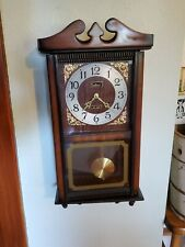 Vintage Centurion Walnut Finish Wood Wall Clock Chime 35-Day Works Great NICE