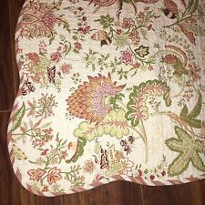 Quilted Floral Blanket Bed Cover 2 Euro Shams 1 Stand Sham Set Cream Red Green