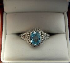 1.67 Ct. Oval Faceted Blue Zircon Filigree Ring Sterling Silver Free Sizing
