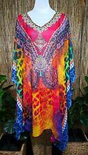 Plus Size Sheer Chiffon Embellished Kaftan Digital Printed Size 18-20-22-24