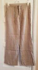 ZARA LADIES SMALL BEIGE 100% LINEN TROUSERS Q1