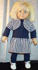 "Doll Clothes Made 2 Fit American Girl 18"" inch 3pcs T-shirt Dress Leggings Shrug"