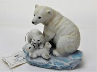 Masterpiece Porcelain by Homco Signed Mizuon Polar Bear and Cubs