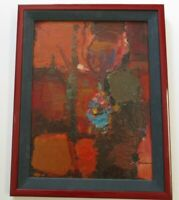 VINTAGE 1970'S OIL PAINTING ABSTRACT EXPRESSIONISM SIGNED MODERNISM MYSTERY