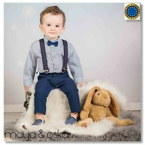 4-pcs Baby Boy Grey Navy Smart Outfit Formal Suit with Braces Wedding 0-3yrs