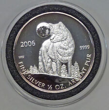 {BJSTAMPS} 2006 CANADA $1 WOLF 1/2 oz .999 SILVER