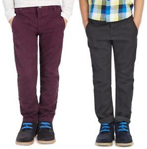 Boys Chinos Trouser Kids Ex Branded Plum Blue Khaki Cotton  Adjustable Waistband
