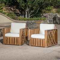 Edward Outdoor Acacia Wood Club Chairs with Water Resistant Cushions (Set of 2)