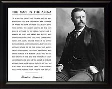 Theodore Teddy Roosevelt The Man In The Arena Quote Framed 8x10 Portrait Photo